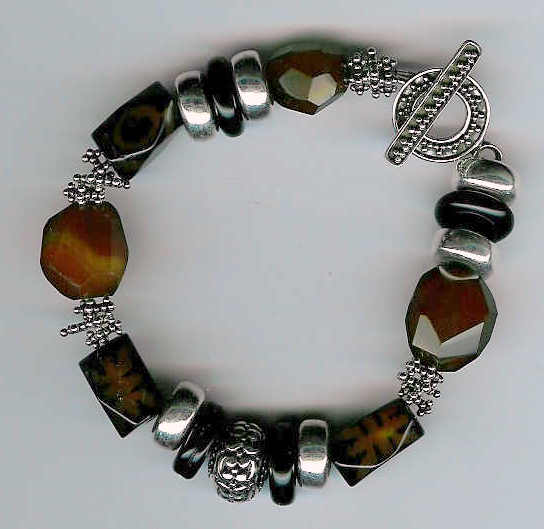 92. Agate, Cinnabar, Onyx with Bali Sterling Silver