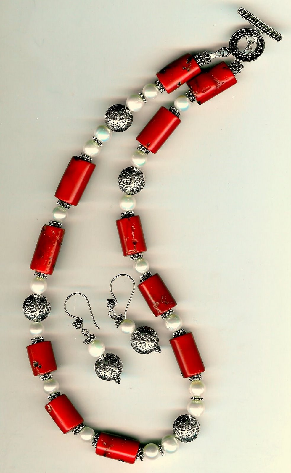 109. Coral, Freshwater Pearls with Bali Sterling Siver + Earrings