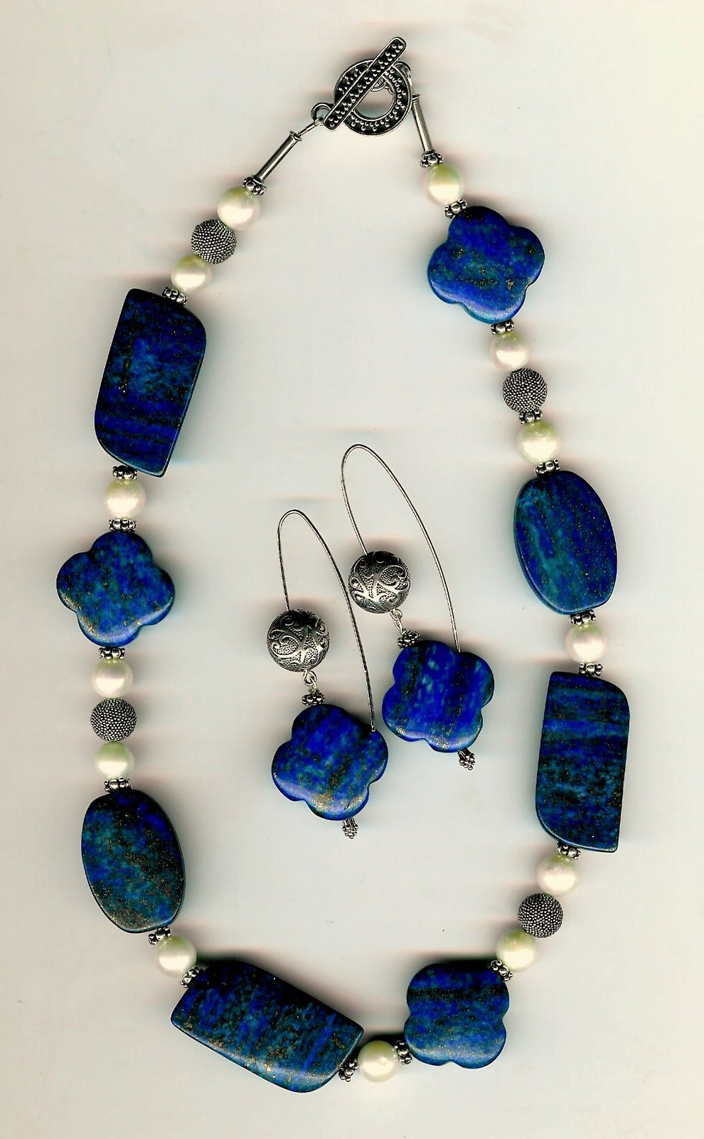 111. Carved Lapis Lazuli, Freshwater Pearls with Bali Sterling Silver + Earrings