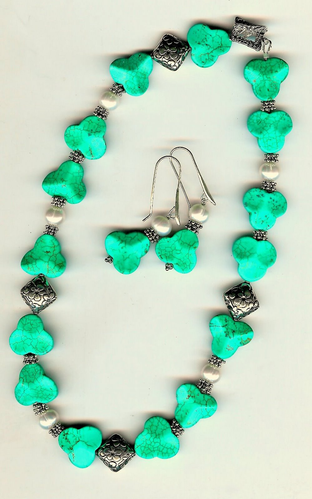 113. Carved Turquoise, Freshwater Pearls with Bali Sterling Silver + Earrings
