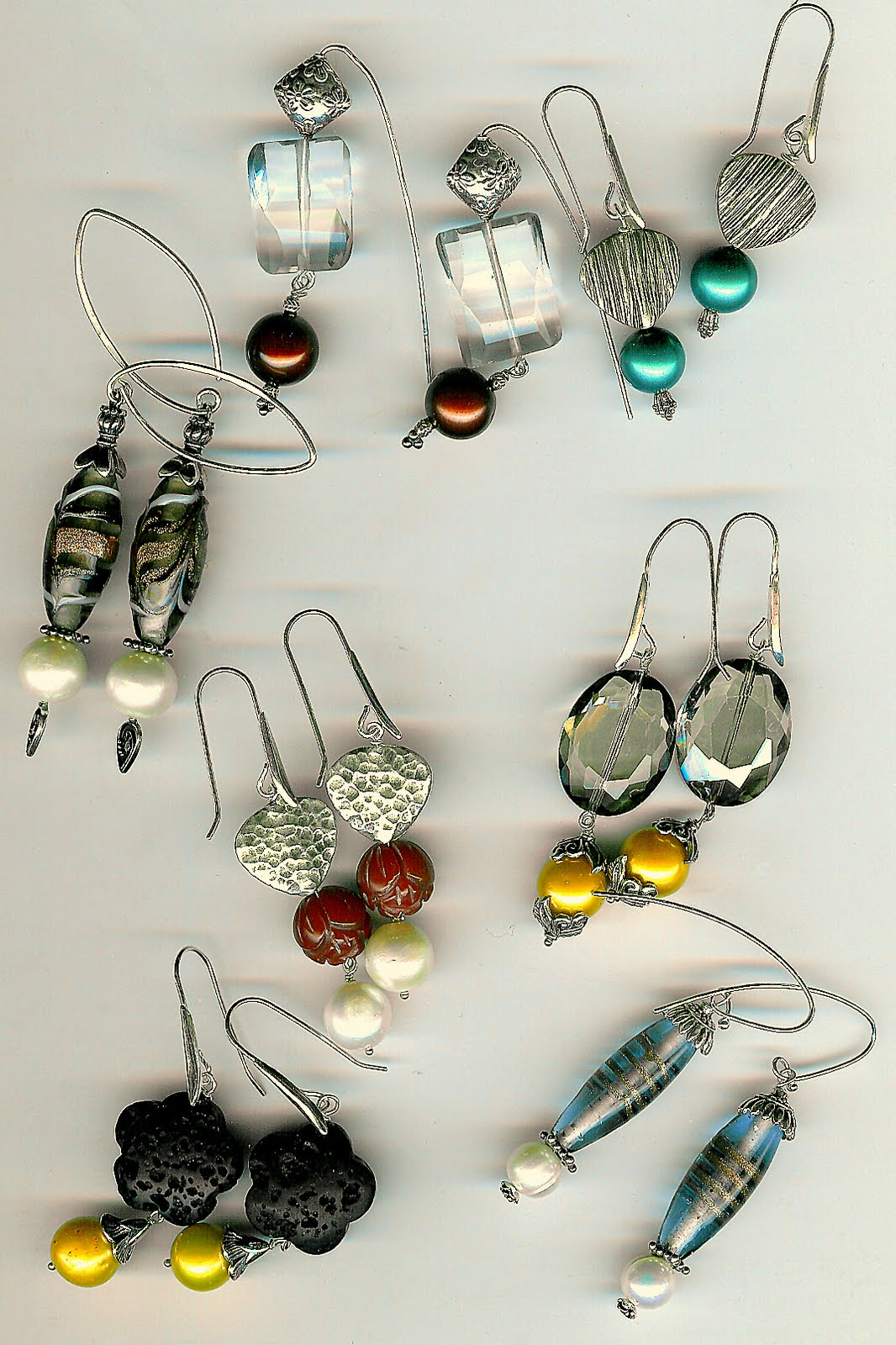 130. Akoya pearl, crystal, carnelian, lampwork glass, lava, with Bali or Karen Hill Sterling Silver