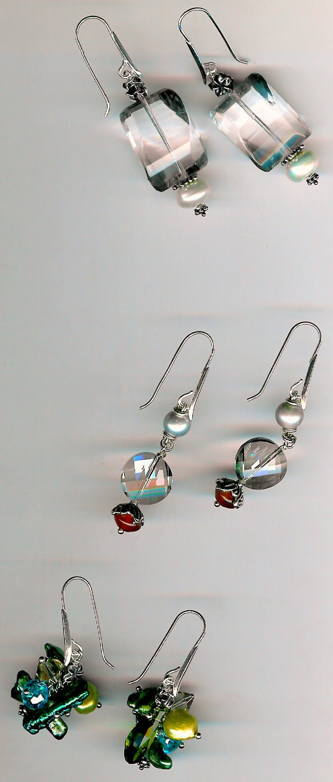 165. Fluorite, Crystal, Carnelian, Freshwater and Baroque Pearls with Bali Sterling Silver Earrings