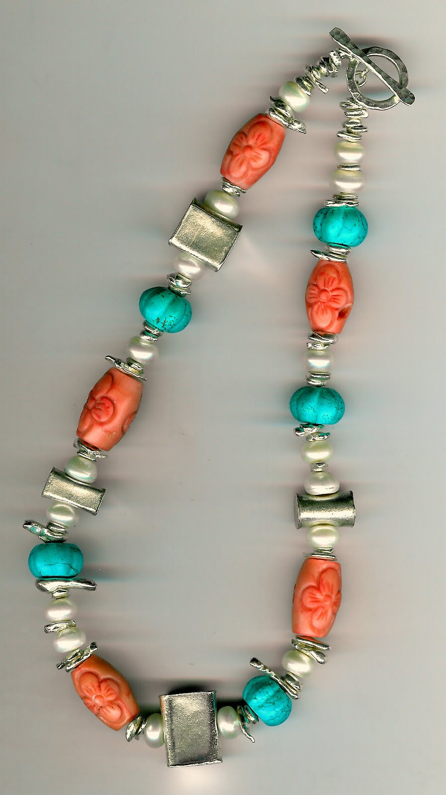 172. Coral, Turquoise, Freshwater pearls with Karen Hill Thai Sterling Silver + Earrings