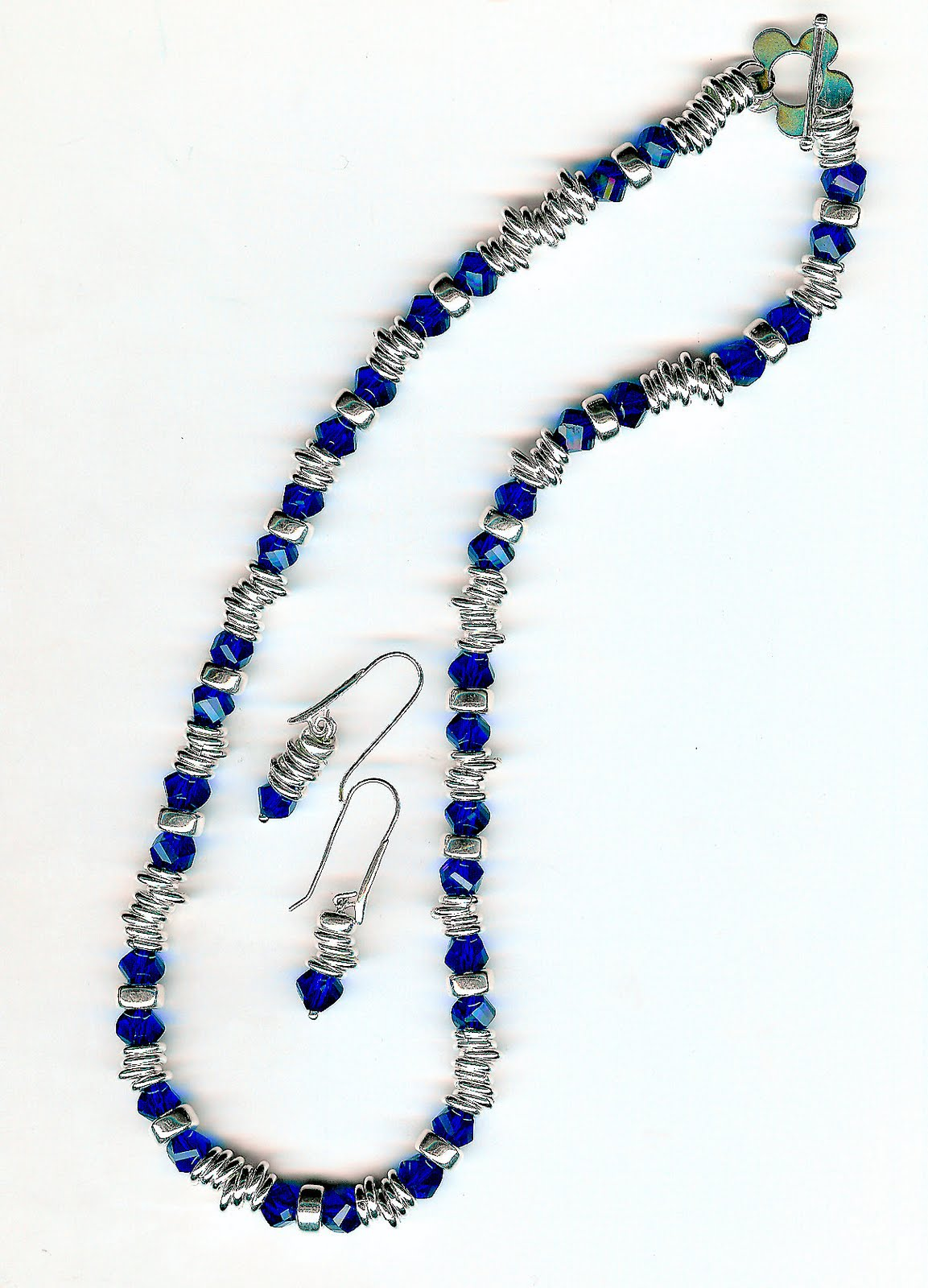 174. Cobalt Crystals with Sterling Silver + Earrings