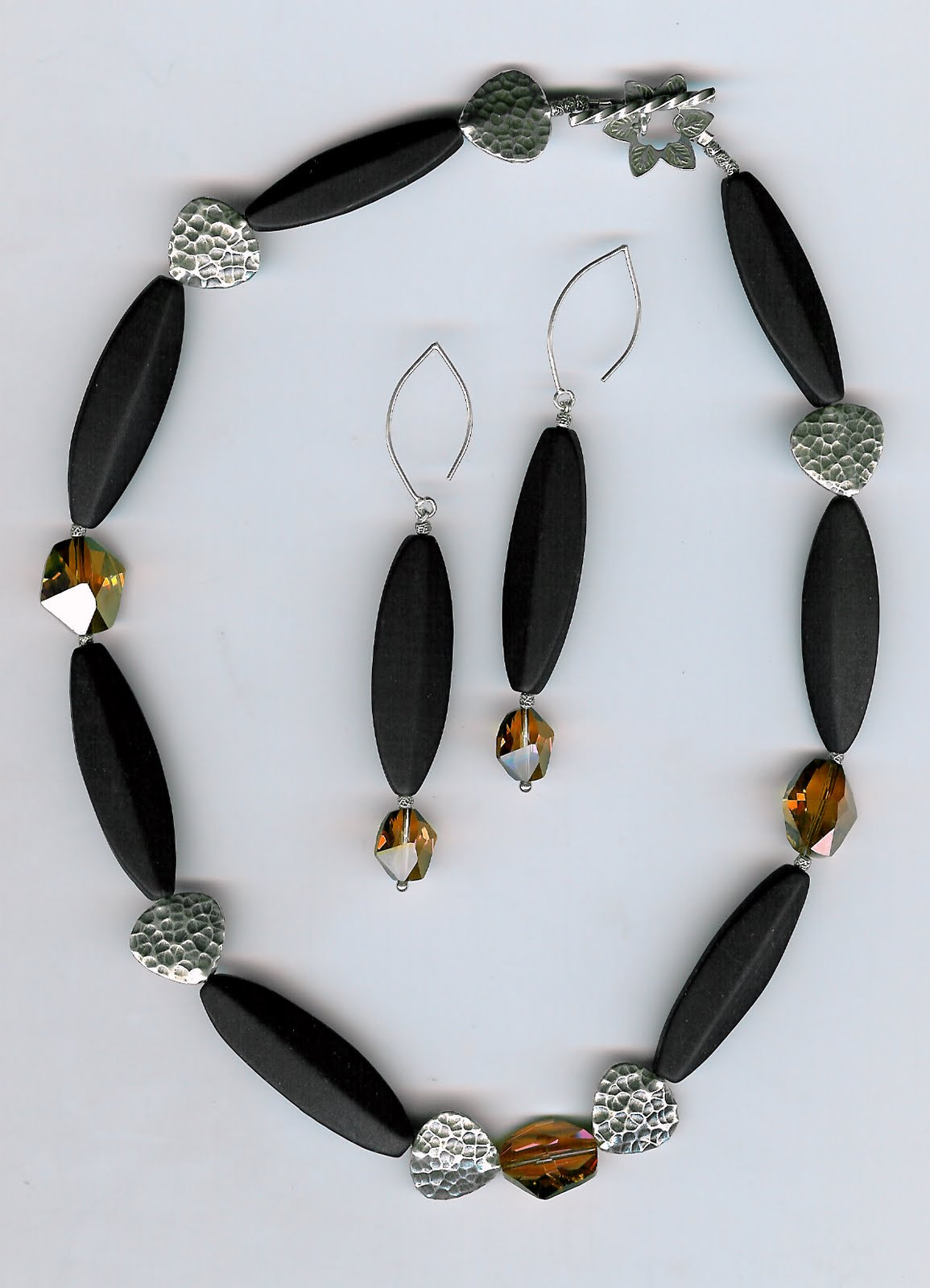 185. Matte Onyx, Crystals with Karen Hill Thai Sterling Silver + Earrings