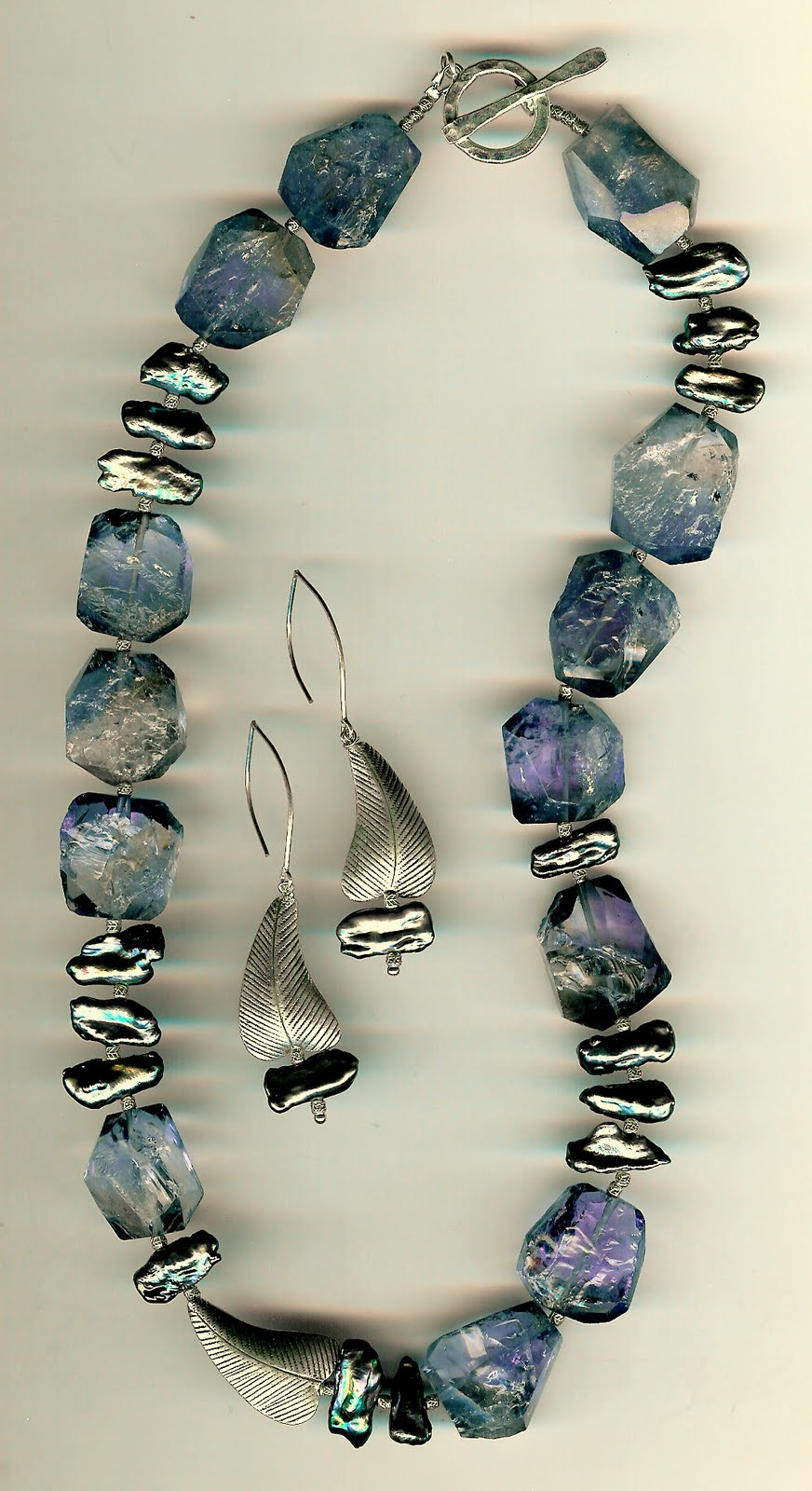 186. Rugged Amethyst, Biwa Pearls and Karen Hill Thai Sterling Silver + Earrings