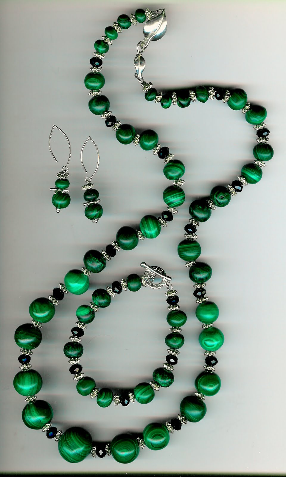 205. Malachite, Crystals with Karen Hill Thai Sterling Silver with Bracelet + Earrings