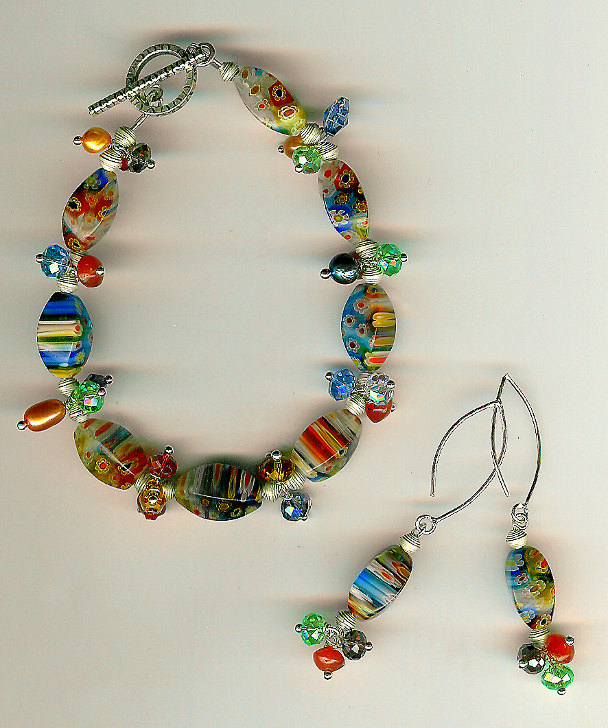 196. Millefiori glass,multi-coloured crystals  - Karen Hill Thai Sterling Silver + Earrings