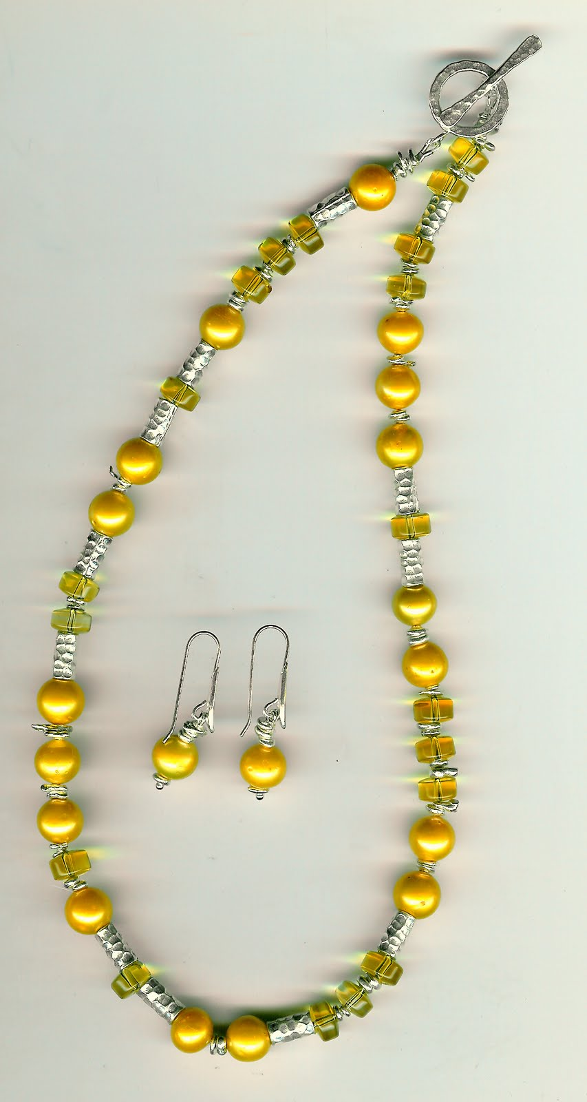 200. Yellow Akoya Pearls, Citrine and Karen Hill Thai Sterling Silver + Earrings