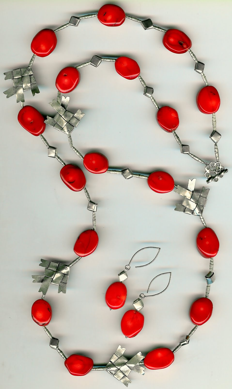 208. red Coral with karen Hill Thai Sterling Silver + Earrings