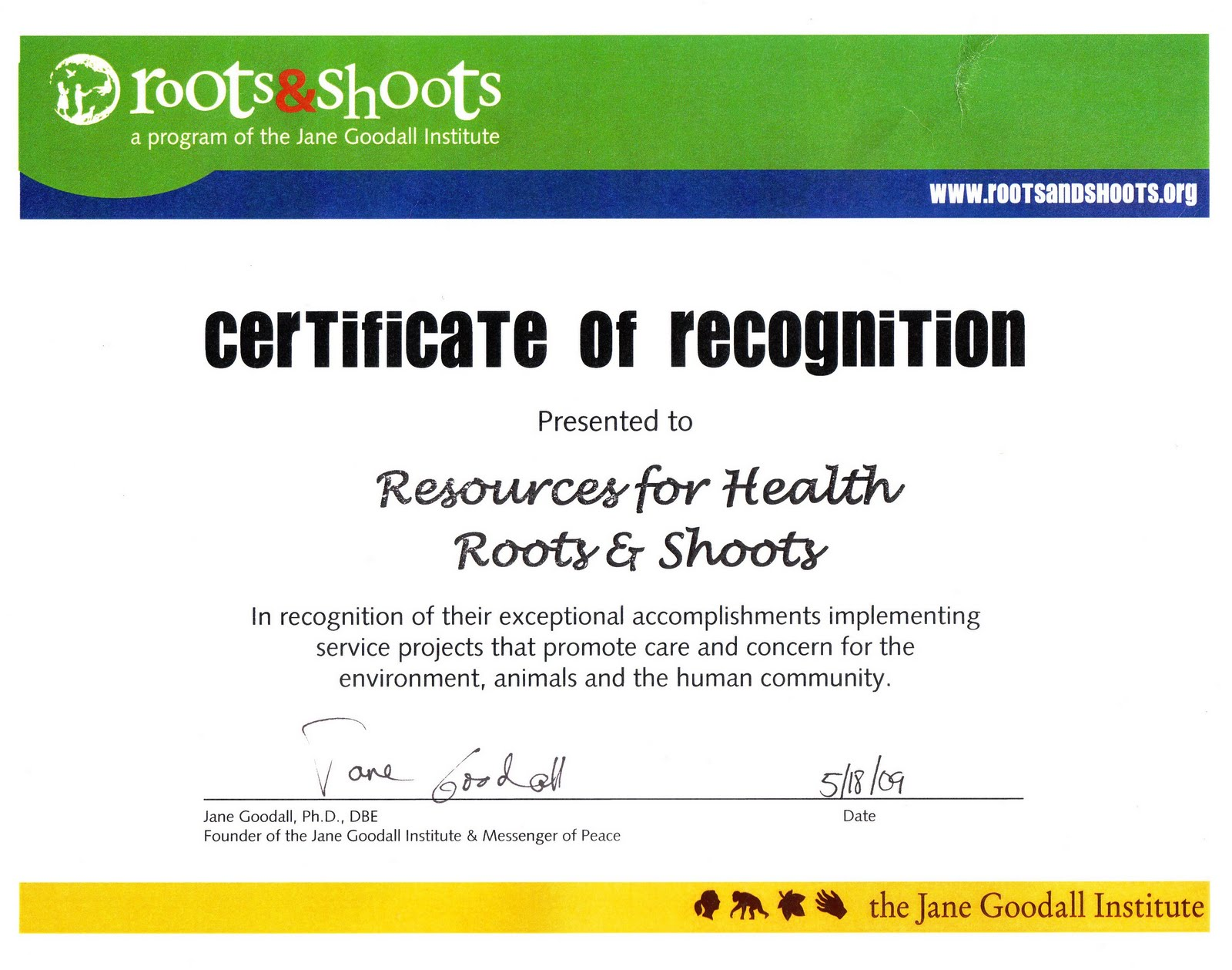 Resources for Health Awards ROOTS SHOOTS EXCEPTIONAL GROUP