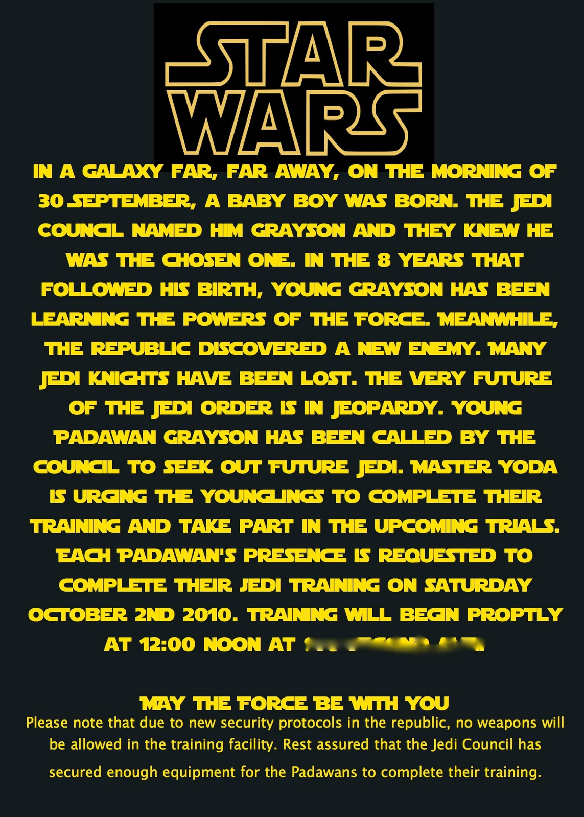 At Second Street Star Wars Party What I Did – Star Wars Birthday Invitation Wording