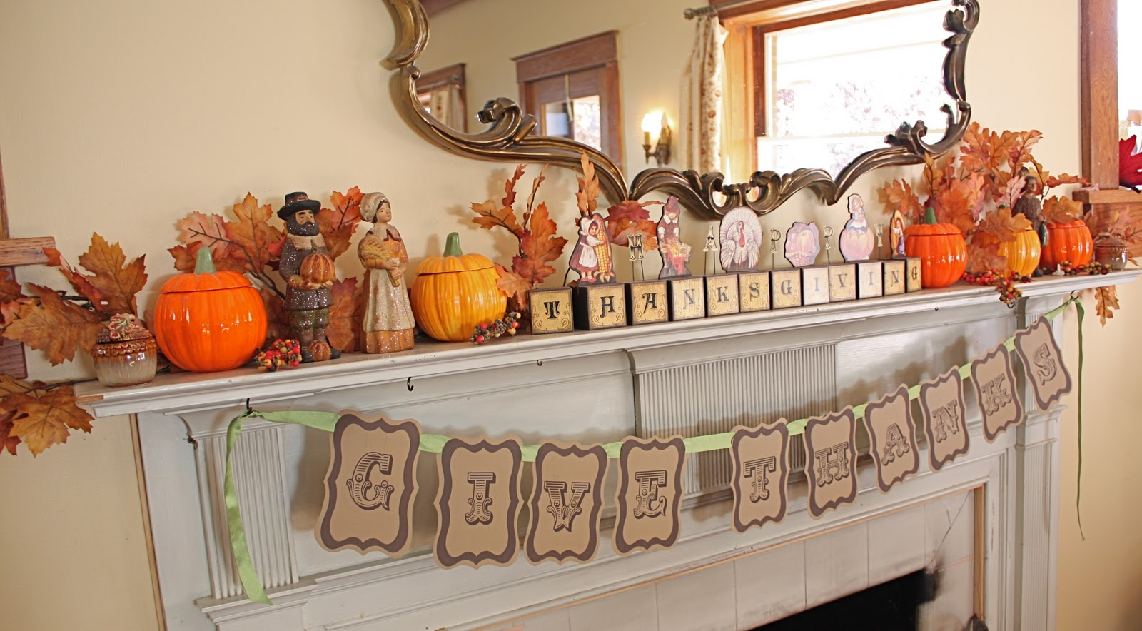 At second street thanksgiving mantel and other decor for Thanksgiving home ideas