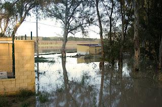 Casitas inundadas en La Corta