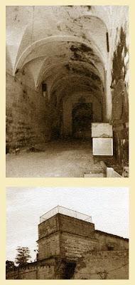 Patio, nave de viga y torre contrapeso del Molino de la Merced