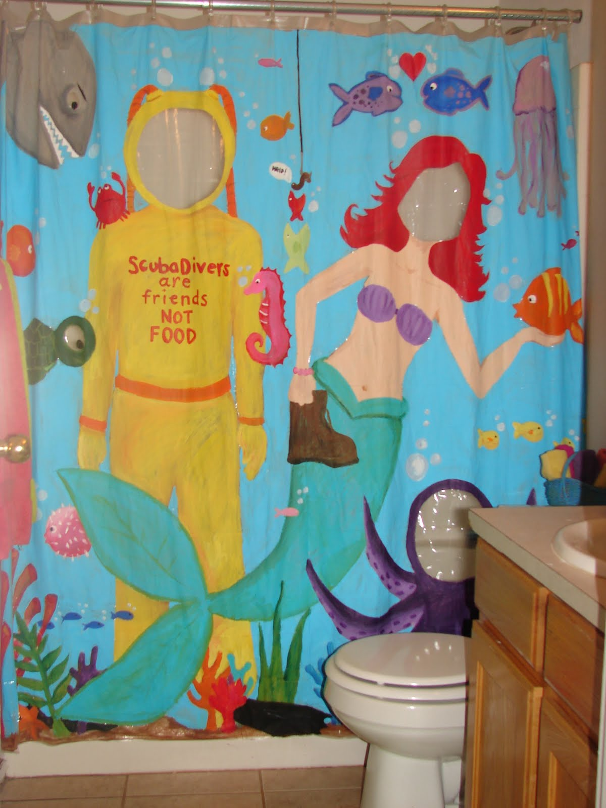 sytyc Painted Shower curtain - A girl and a glue gun