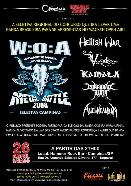 W.O.A. Metal Battle seleção Campinas - dia 26/04/08