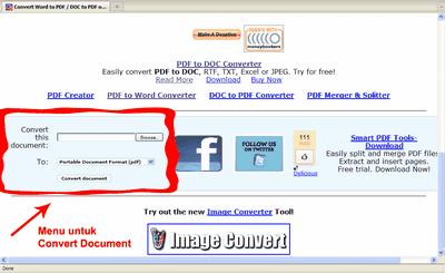 Menu untuk convert document ke PDF