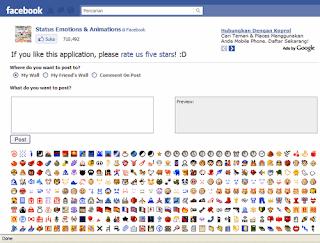 Halaman Aplikasi Status Emotions dan Animations - Image by MeNDHo.com