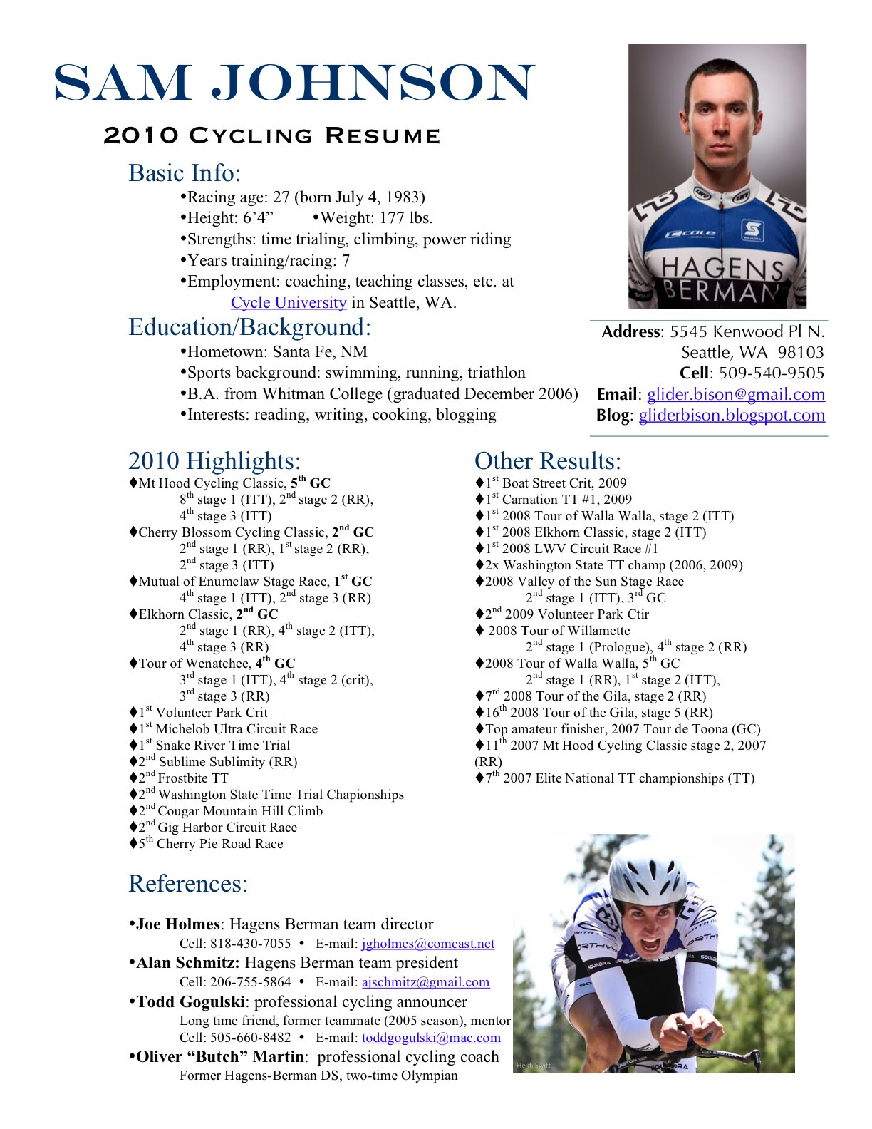 race resume template