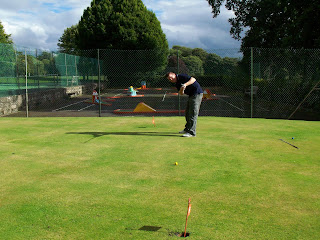 Richard Gottfried playing on the minigolf Putting at Conyngham Hall Grounds in Knaresborough