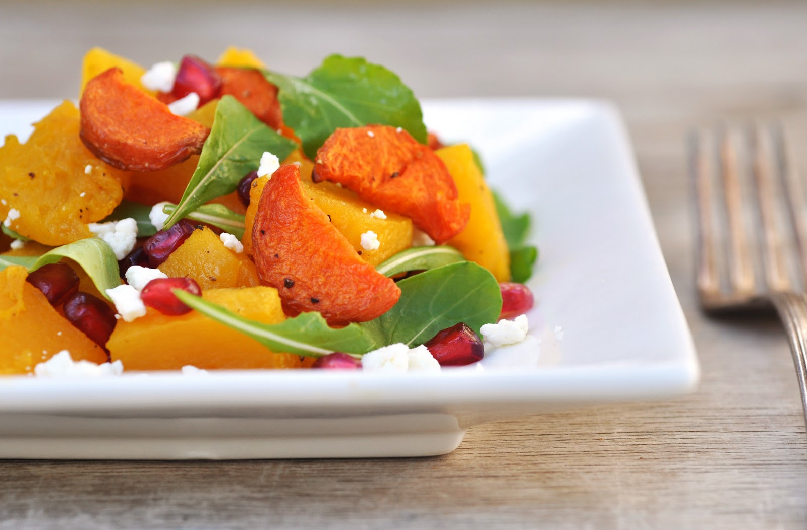 Anja's Food 4 Thought: Roasted Pumpkin Pomegranate Salad