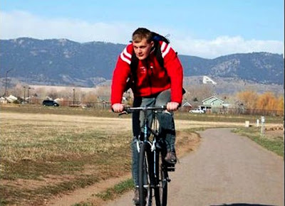 A bike rider pedals along the Spring Creek Trail just near Fort Collins, CO