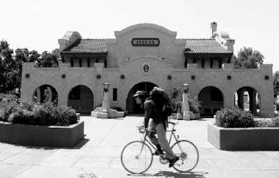 Image of a bicyclist at the train station in Davis, California