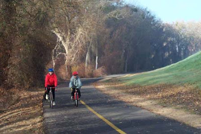 Image of bicyclists on the American River trail near Sacramento, California