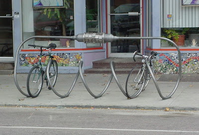 Image of artistic bike rack in Burlington, Vermont