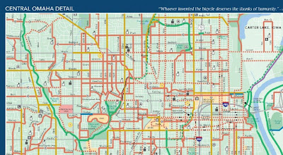 Detail of new Omaha bicycling map