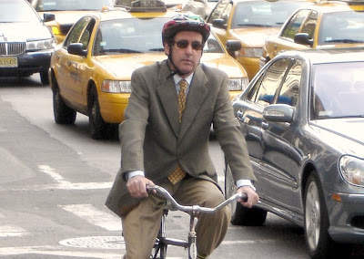 Bicycle commuter in New York City