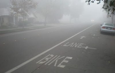 Image of bike lane on a foggy morning in Davis, California