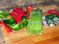Chopped bell peppers and asparagus spears