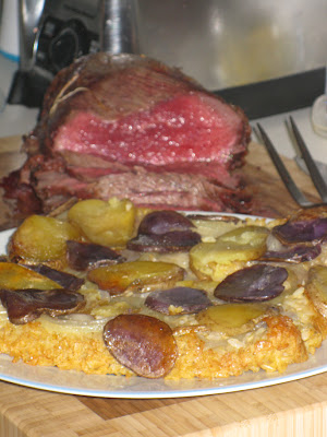 Roast beast with Spiced rice with crispy potato crust