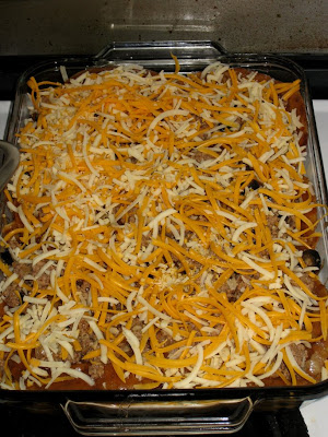Finish with shredded cheddar and jack cheeses