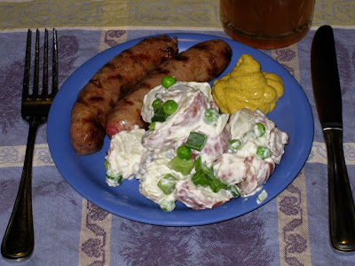 Mama Llama's potato salad with grilled sweet Italian sausages