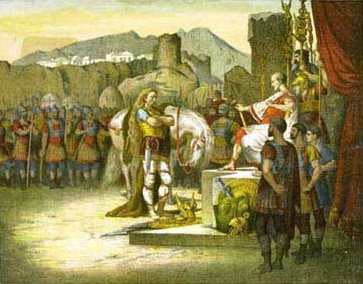 Vercingetorix surrendering to Julius Caesar