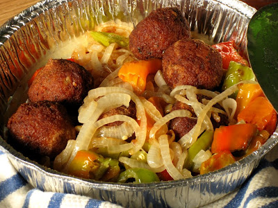 Enzo's meatballs, onions and peppers