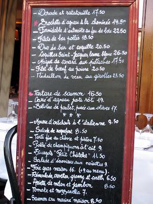 Menu, Le Petit Châtelet, Paris France