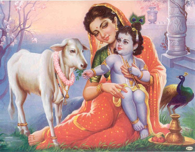 Baby Krishna y Yasoda