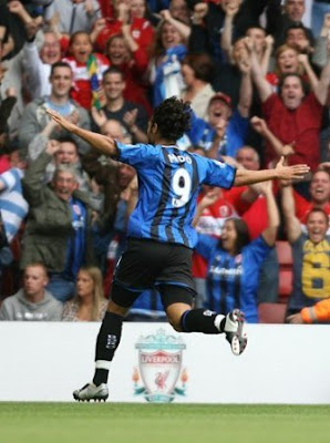 Mido celebrates putting Boro ahead against LiverPool