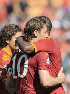 As Roma Vs Calgiari HQ Match Photos , Totti celebrating, Totti celebrating with Juan