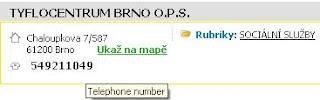 ukázka vyhledání s alternativním popiskem Telephone number