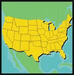 USA Map in Yellow