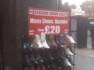 Men's Shoes Marked Down Upstairs, 70% off
