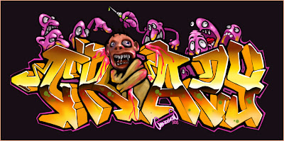 Example Of Tribal Graffiti Alphabet 3D Letters Full Color Light Yellow Sun