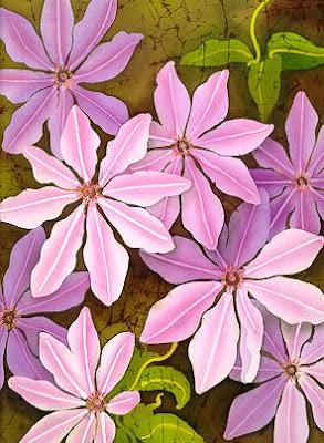 Batik Fabric: Floral Batik Painting