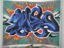 Blue Alphabet Graffiti
