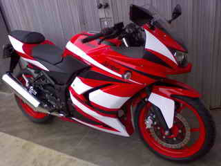 Cutting Sticker Kawasaki Ninja 250 White for Red Body and Fairing
